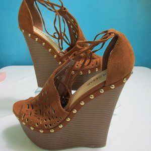 NEW Brown Lace Up Platform Heels By JustFab-8